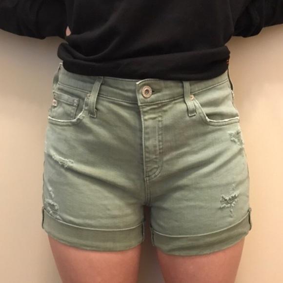 AG The Hailey Mid Rise ex-boyfriend Roll up shorts